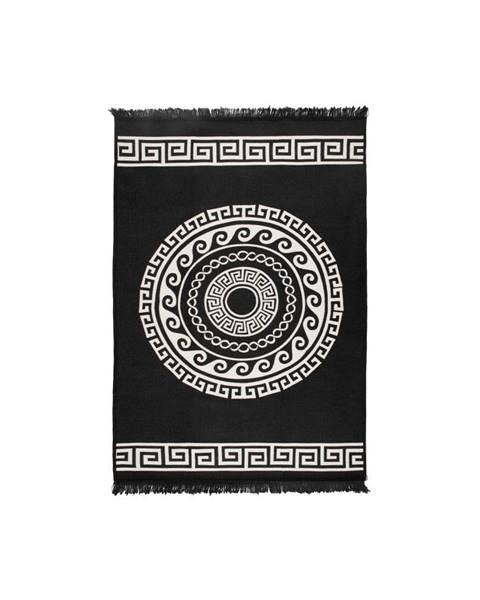 Cihan Bilisim Tekstil Béžovo-čierny obojstranný koberec Mandala, 120×180 cm