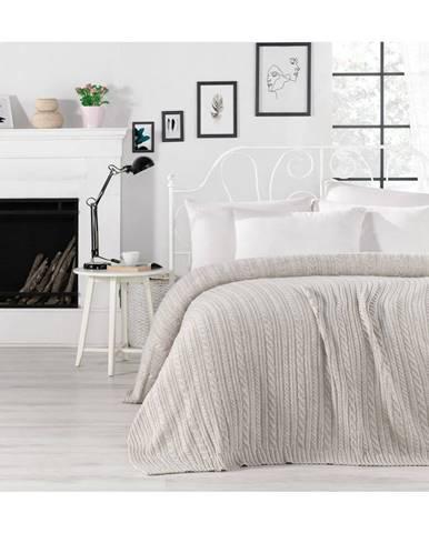 Sivobéžová prikrývka cez posteľ Camila, 220 x 240 cm