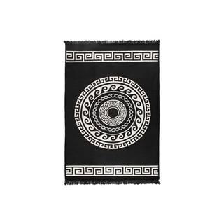 Béžovo-čierny obojstranný koberec Mandala, 120×180 cm
