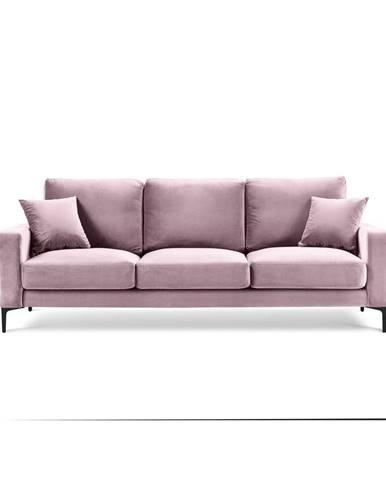 Ružová zamatová pohovka Kooko Home Harmony, 220 cm