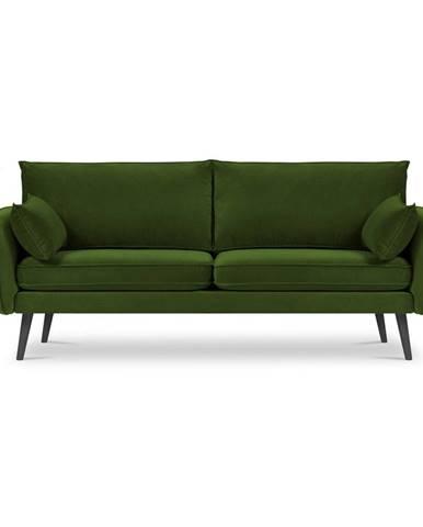 Zelená zamatová pohovka Kooko Home Lento, 198 cm