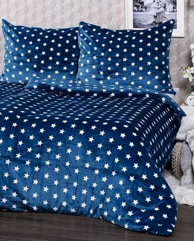 4Home obliečky mikroflanel Stars modrá, 140 x 200 cm, 70 x 90 cm, 140 x 200 cm, 70 x 90 cm