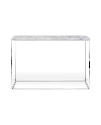 Biely konzolový stolík s mramorovou doskou TemaHome