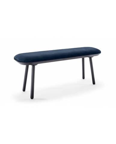 Modro-čierna zamatová lavica EMKO Naive, 140 cm