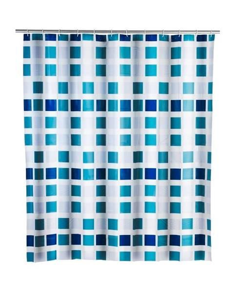 Wenko Modrý sprchový záves Wenko Mosaic, 180×200 cm