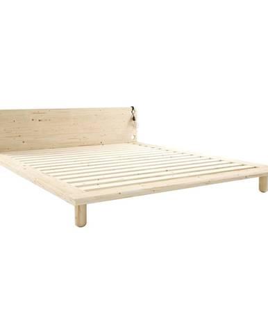 Dvojlôžková posteľ z masívneho dreva s lampami Karup Design Peek, 140 x200cm