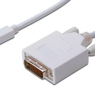 Kábel PremiumCord Mini DisplayPort / DVI, M/M, 2m biely
