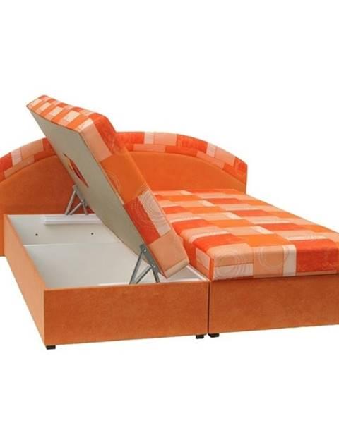 Kondela Manželská posteľ pružinová oranžová/vzor KASVO