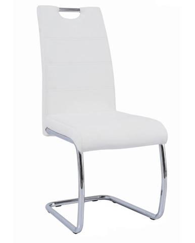 Jedálenská stolička biela/svetlé šitie ABIRA NEW
