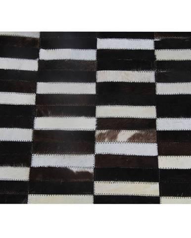 Luxusný kožený koberec hnedá/čierna/biela patchwork 141x200 KOŽA TYP 6