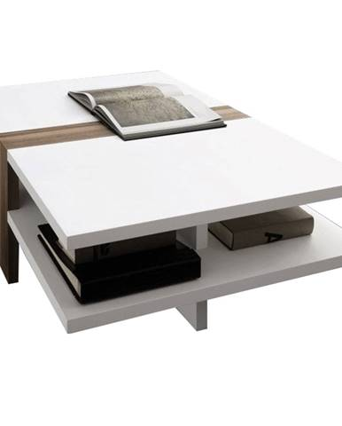 Konferenčný stolík biela extra vysoký lesk HG/slivka NAVIN