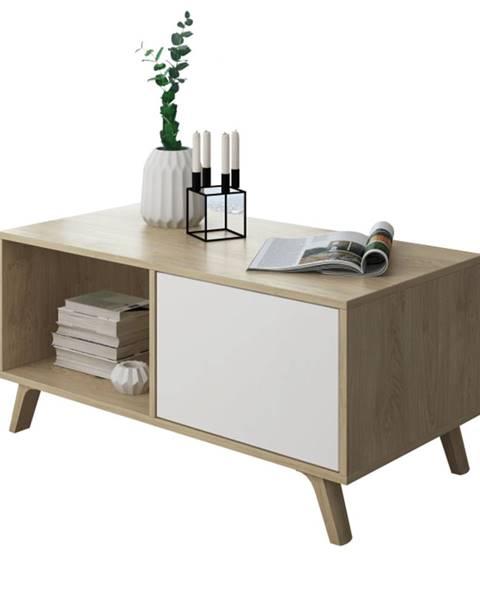 Tempo Kondela Konferenčný stolík dub puccini/biela LAND poškodený tovar