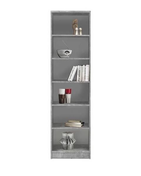 Sconto Regál/knižnica OPTIMUS 35-015 beton/biela