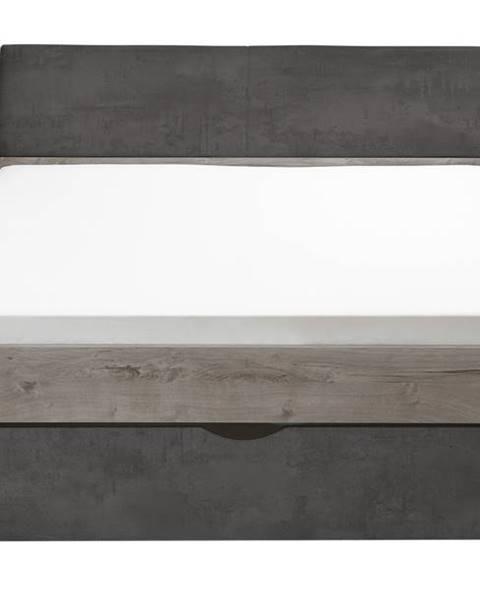 Sconto Posteľ MERWIN dub/antracitová, 180x200 cm