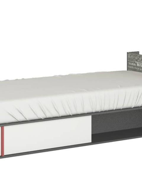 Sconto Posteľ PHILOSOPHY biela/grafit, pravá, 90x200 cm