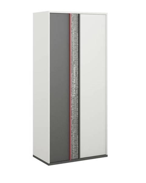 Sconto Šatníková skriňa PHILOSOPHY PH-2 biela/grafit