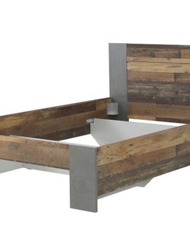Posteľ CLIF staré drevo/sivá, 140x200 cm