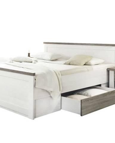 Posteľ s nočnými stolíkmi PARVATI biela, 180x200 cm