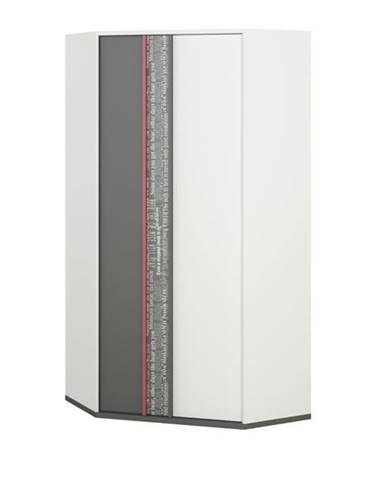 Rohová šatníková skriňa PHILOSOPHY PH-01 biela/grafit