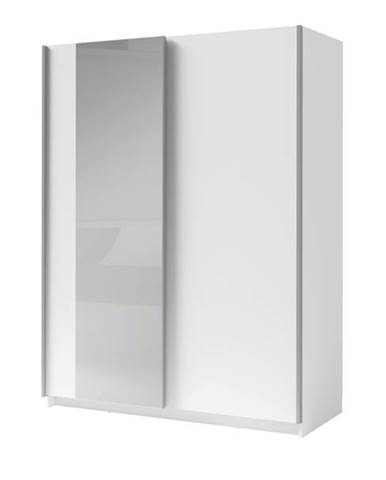 Šatníková skriňa so zrkadlom SPLIT biela, šírka 150 cm