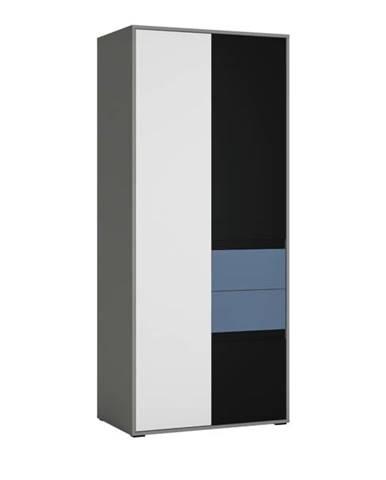 Skriňa LASER modrá/sivá