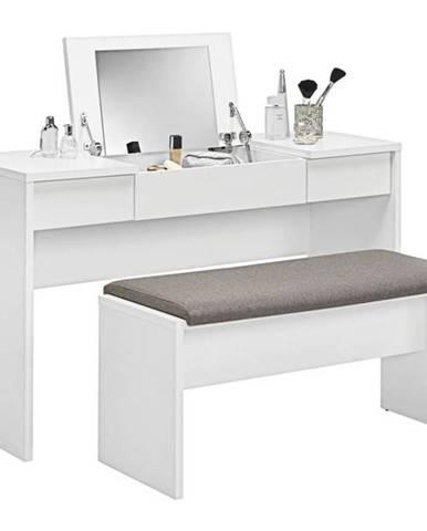 Toaletný stolík s lavicou LIPSTICK biela/hnedobiela
