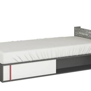 Posteľ PHILOSOPHY biela/grafit, pravá, 90x200 cm