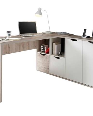 Rohový písací stôl QUADRO 39 dub/biela