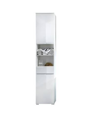 Vysoká skrinka SPICE biela vysoký lesk