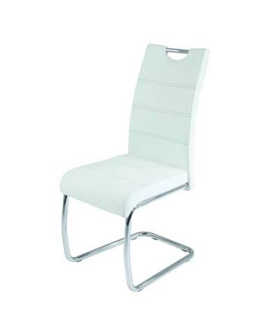 Jedálenská stolička FLORA S biela, syntetická koža