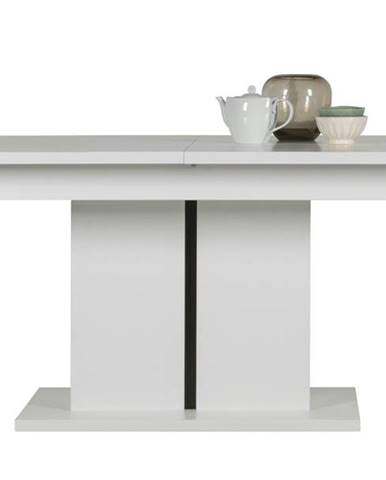 Jedálenský stôl IVONA biela, rozkladací 160-200 cm