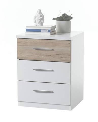 Nočný stolík MAESTRO biela/dub sonoma