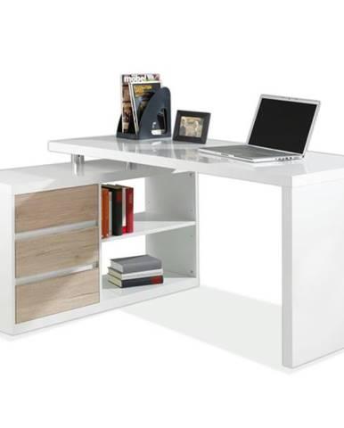 Rohový písací stôl 6228 biela/dub sanremo