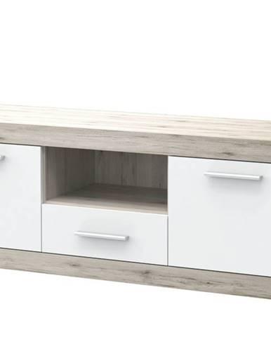 TV stolík BACCIO dub pieskový/biela