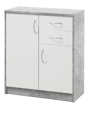 Komoda OPTIMUS 38-003 beton/biela
