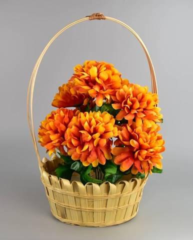 Dušičkový košík zdobený Chryzantéma 20 x 30 cm, oranžová