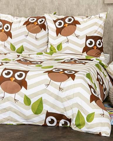 4Home Bavlnené obliečky Sovy hnedá, 140 x 220 cm, 70 x 90 cm