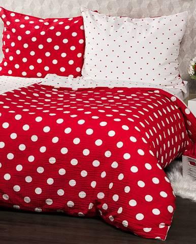 4Home Krepové obliečky Červená bodka, 140 x 200 cm, 70 x 90 cm